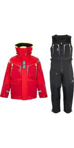 2020 Gill Mens OS1 Offshore Ocean Jacket & Trouser Combi Set - Red / Graphite