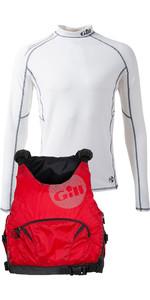 Gill Mens Pro Racer Mens 50N Buoyancy Aid & Pro Rash Vest Package Deal - Red / White