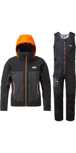 2021 Gill Mens Race Fusion Jacket & Salopette Combi Set - Black