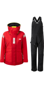 2020 Gill OS2 Womens Offshore Jacket & Trouser Combi Set - Red /  Black