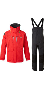 2020 Gill OS3 Mens Coastal Jacket & Trousers Combi Set - Bright Red / Graphite