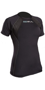 2019 Gul Evolite Womens Flatlock Thermal Short Sleeve Top Black EV0122-B2