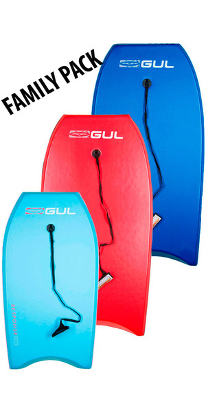 2019 GUL RESPONSE FAMILY PACKAGE BODYBOARDS - 2 ADULT 1 JUNIOR - BLUE, RED + LIGHT BLUE