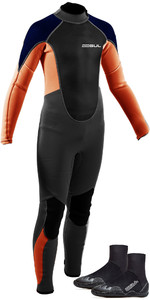 2021 Gul Junior Response 3/2mm Back Zip Wetsuit & Power Boot Bundle - Grey / Orange