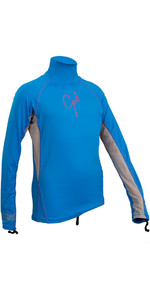 2019 Gul Junior Girls Long Sleeve Rash Vest Blue / Silver RG0346-B4