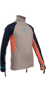 2019 Gul Junior Girls Long Sleeve Rash Vest Silver / Coral RG0346-B4
