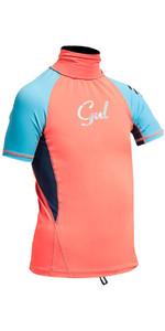 Gul Junior Surf Short Sleeve Rashguard Coral / Turquoise RG0345-A9