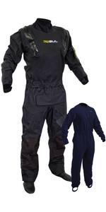 2021 Gul Mens Code Zero Stretch U-Zip Drysuit With Con Zip & Underfleece GM0368-B8 - Black