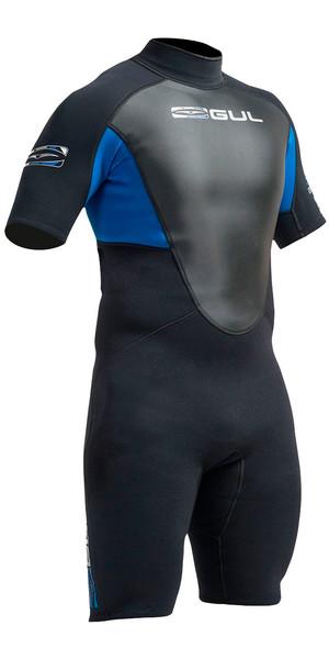 Gul Response 3/2mm Mens Shorty Wetsuit Black / Blue RE3319-A9