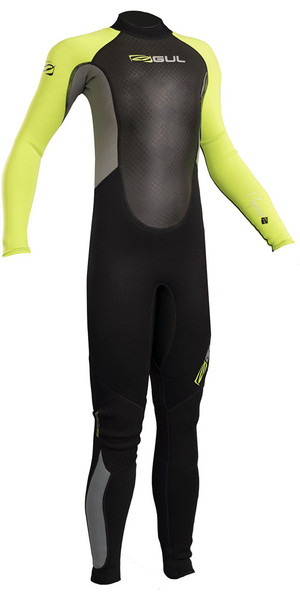 2018 Gul Response Junior 3/2mm Flatlock Wetsuit Black / Lime RE1322-B4