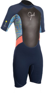 2019 Gul Response Junior Girls 3/2mm Shorty Wetsuit Navy / Lines RE3321-B4