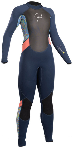 2018 Gul Response Junior Girls 3/2mm Flatlock Wetsuit Navy / Lines RE1323-B4