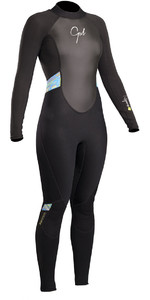 2019 Gul Response Womens 3/2mm Flatlock Back Zip Wetsuit Black / Lines RE1319-B4
