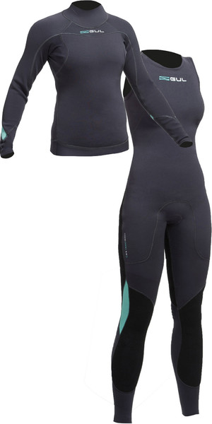 2018 Gul Womens Code Zero 3mm Long Sleeve Thermo Top & Long John Combi Set JET