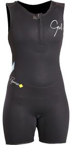 2020 Gul Response Womens 3/2mm Flatlock Short Jane Wetsuit BLACK / Lines RE5306-B4