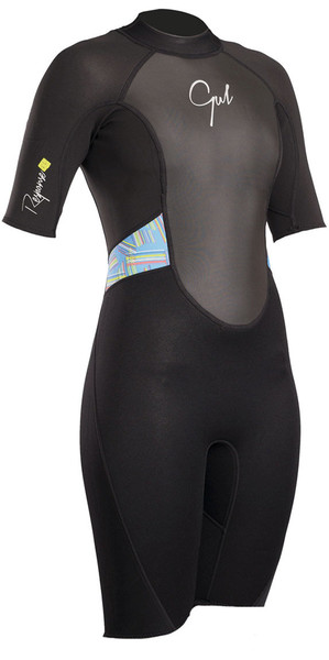 2019 Gul Womens Response 3/2mm Back Zip Shorty Wetsuit Black / Lines RE3318-B4