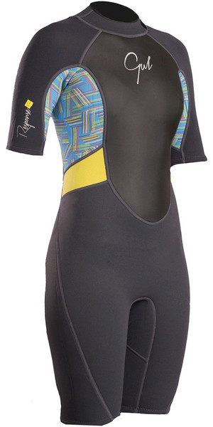 2018 Gul Womens Response 3/2mm Back Zip Shorty Wetsuit Graphite / Lines RE3318-B4