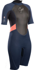 2020 Gul Womens Response 3/2mm Back Zip Shorty Wetsuit Navy / Black RE3318-B4