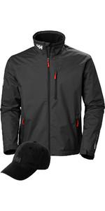 Helly Hansen Crew Midlayer Jacket & Logo Cap Package Deal - Black