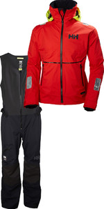 Helly Hansen Mens HP Foil Jacket & Salopette Combi Set - Alert Red / Black