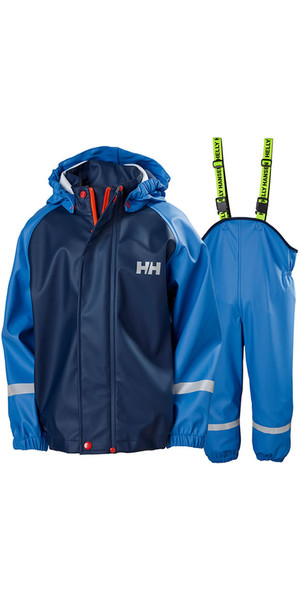 2019 Helly Hansen Junior Bergen PU Jacket & Trouser Rain Set Blue Water 40360