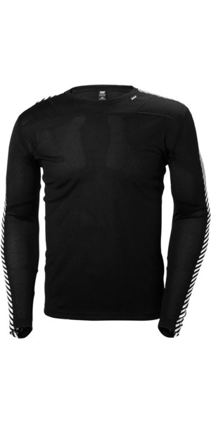 2018 Helly Hansen Lifa Crew Neck Base Layer LS Top Black 48300