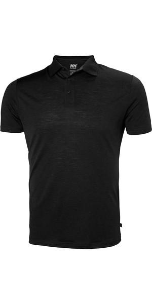 2019 Helly Hansen Mens Merino Light Short Sleeve Polo Black 49320
