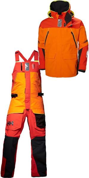2019 Helly Hansen Skagen Offshore Jacket 33907 & Trouser 33908 Combi Set Blaze Orange