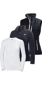 Helly Hansen Womens Crew Vest, Daybreaker Fleece & Tech Long Sleeve Base Layer Package Deal