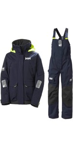 2020 Helly Hansen Womens Pier Coastal Sailing Jacket & Trouser Combi Set - Navy