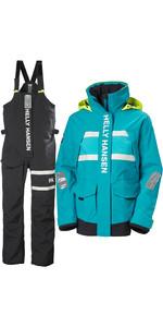 2021 Helly Hansen Womens Salt Coastal Jacket & Trouser Combi Set -  Caribbean Sea / Ebony