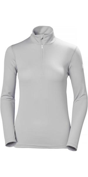 2018 Helly Hansen Womens Tech 1/2 Zip Long Sleeve Base Layer Light Grey 48375