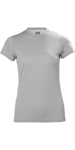 2018 Helly Hansen Womens Tech T Short Sleeve Base Layer Light Grey 48373