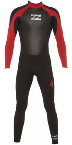 2019 Billabong Junior Intruder 5/4/3mm GBS Back Zip Wetsuit BLACK / RED 045B15