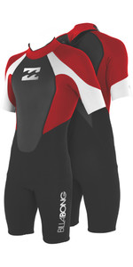 2019 Billabong JUNIOR Intruder 2mm Back Zip Shorty Wetsuit Black / Red / White S42B08