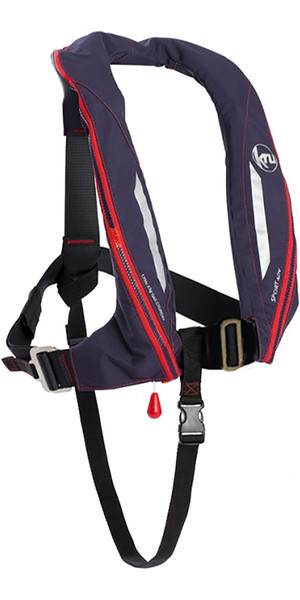 2018 Kru Sport 170N ADV Auto Lifejacket with Harness, Hood & Light Navy LIF7357