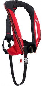 2021 Kru Sport 170N ADV Auto Lifejacket with Harness, Hood & Light Red LIF7361