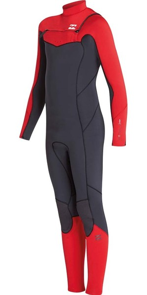 2018 Billabong Junior Furnace Absolute 4/3mm Chest Zip Wetsuit Red L44B05