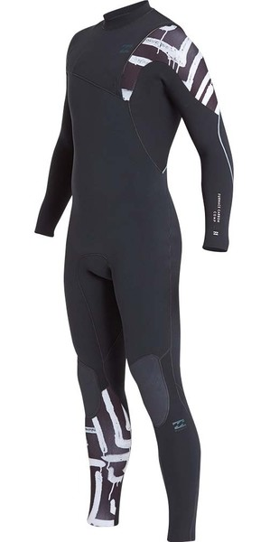 2019 Billabong Furnace Carbon Comp 3/2mm Ziperless Wetsuit Black Print L43M03