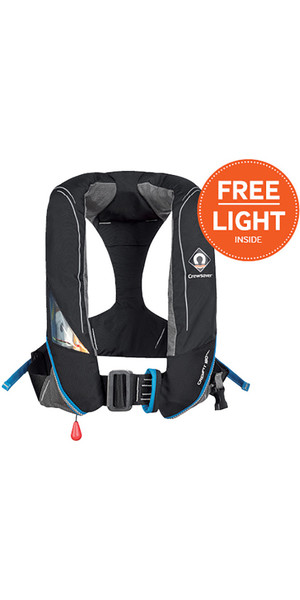 2018 Crewsaver Crewfit 180N Pro Automatic With Harness Lifejacket Black 9025BKA + FREE LIGHT