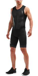 2019 2XU Mens Compression Full Zip Sleeveless Trisuit Black MT5517d