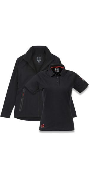 Musto Womens Essential Crew BR1 Jacket BLACK EWJK058 & Evolution Sunblock Polo Top Bundle Offer