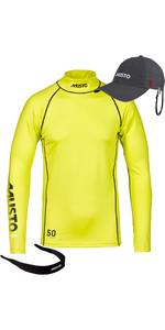 Musto UPF50 Long Sleeve Rash Vest Sulphur Spring + Fast Dry Crew Cap Charcoal & Sunnies Neoprene Retainer