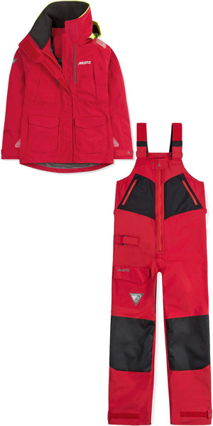 2019 Musto Womens BR2 Offshore Jacket SWJK014 & Trouser SWTR010 Combi Set Red