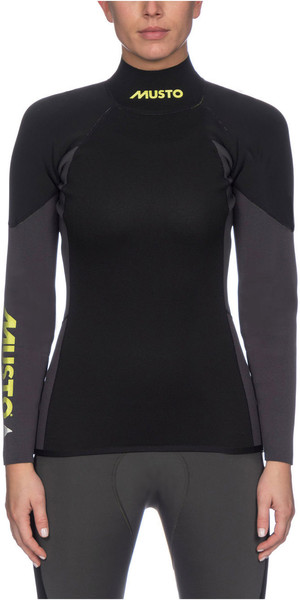 2019 Musto Womens Foiling 1.5mm Thermocool Long Sleeve Top Dark Grey / Black SWTS001