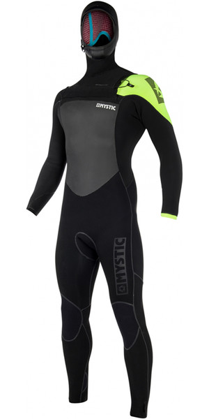 2018 Mystic Legend Hooded 5/3mm Chest Zip Wetsuit BLACK / LIME 180000