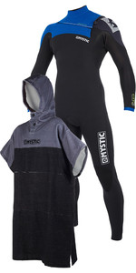 Mystic Drip 5/4mm Front Zip Wetsuit Blue & Regular Poncho / Change Robe Black / Grey