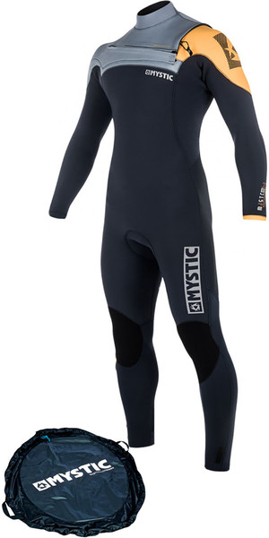 2018 Mystic Majestic Chest Zip Wetsuit 5/3mm ORANGE 180002 & Change Mat Bundle Offer