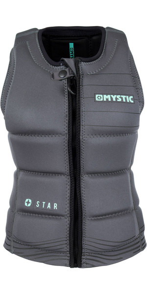 2018 Mystic Star Womens Front Zip Wake Impact Vest Black 180156