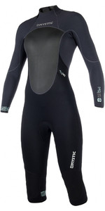 2019 Mystic Womens Brand 3/2mm Back Zip Long Arm Short Leg Wetsuit Black 180068